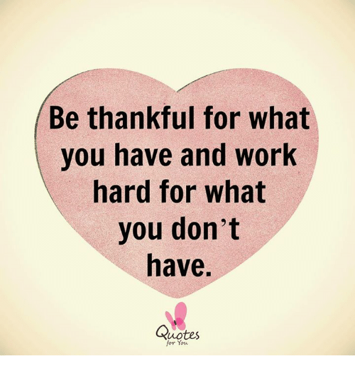 Be Thankful For What You Have And Work Hard For What You Dont Have