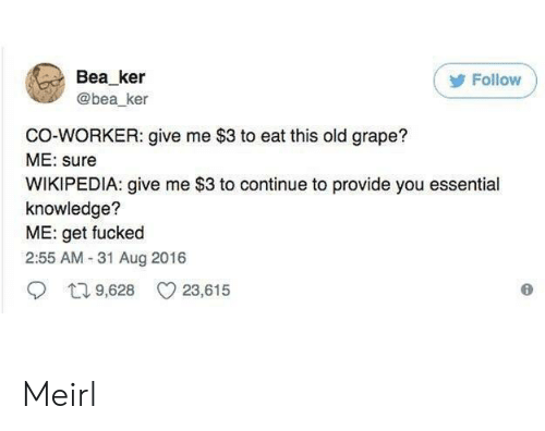 Wikipedia, Old, and Knowledge: Bea ker  @bea_ker  Follow  CO-WORKER: give me $3 to eat this old grape?  ME: sure  WIKIPEDIA: give me $3 to continue to provide you essential  knowledge?  ME: get fucked  2:55 AM-31 Aug 2016  9,628 23,615 Meirl