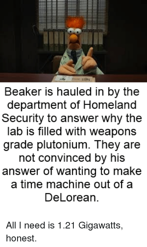 beaker is hauled in by the department of homeland security 19724107 ✅ 25 best memes about 1 21 gigawatts 1 21 gigawatts memes