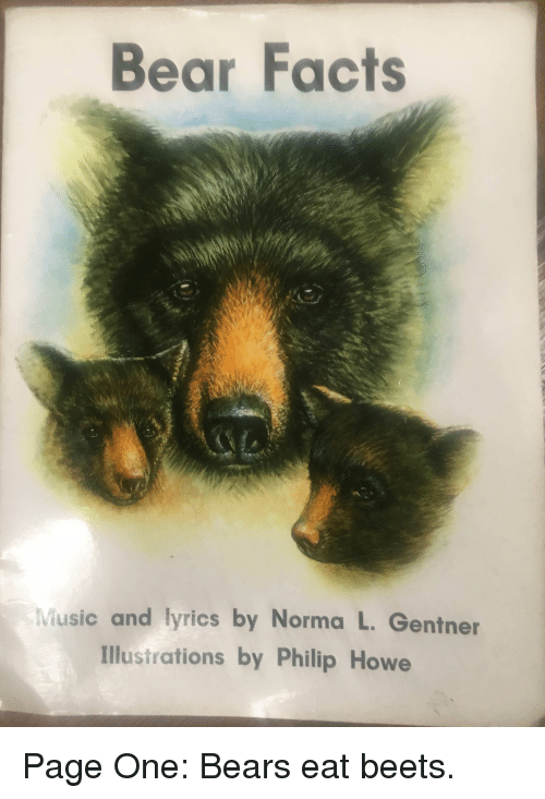 Facts, Music, and The Office: Bear Facts  Music and lyrics by Norma L. Gentner  Illustrations by Philip Howe Page One: Bears eat beets.