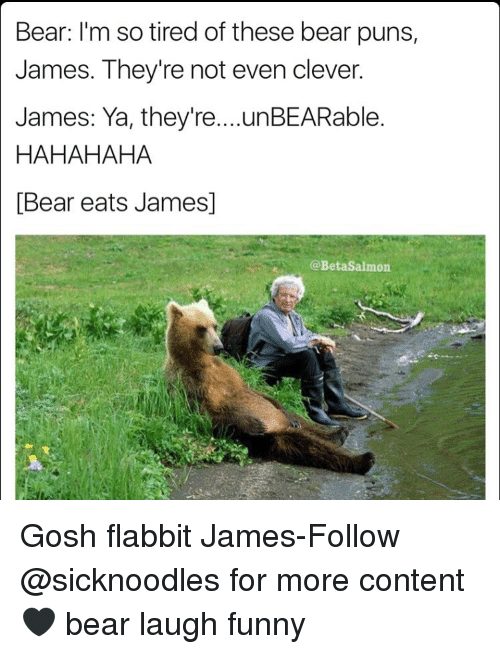 Bear Im So Tired Of These Bear Puns James Theyre Not Even Clever