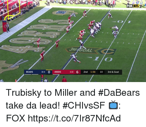 San Francisco 49ers, Memes, and Bears: BEARS 10-4 O 49ERS 41 6 2nd 1:56 1o 3rd & Goal  4-10 6 2nd 1:56 10 3rd & Goal  3 Trubisky to Miller and #DaBears take da lead! #CHIvsSF  📺: FOX https://t.co/7Ir87NfcAd