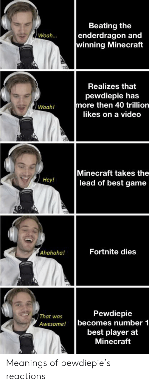 Minecraft, Best, and Game: Beating the  enderdragon and  winning Minecraft  Woah...  Realizes that  pewdiepie has  more then 40 trillion  Woah!  likes on a video  Minecraft takes the  lead of best game  Hey!  P  Fortnite dies  Ahahaha  That was  becomes number 1  best player at  Minecraft  Awesome! Meanings of pewdiepie's reactions