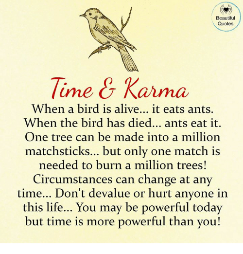 Beautiful Quotes Tine Karma When A Bird Is Alive It Eats Ants When