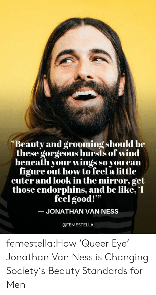 "Be Like, Netflix, and Target: Beauty and grooming should be  these gorgeous bursts of wind  beneath your wings so you can  figure out how to feel a little  cuter and look in the mirror, get  those endorphins, and be like, I  feel good!""  JONATHAN VAN NESS  @FEMESTELLA femestella:How 'Queer Eye' Jonathan Van Ness is Changing Society's Beauty Standards for Men"