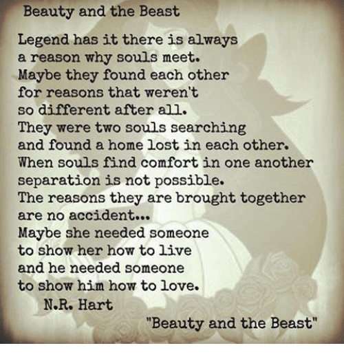 Love Each Other When Two Souls: Beauty And The Beast Legend Has It There Is Always A