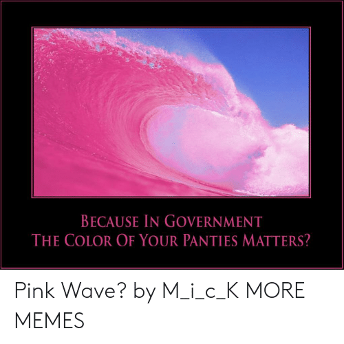Dank, Memes, and Target: BECAUSE IN GOVERNMENT  THE COLOR OF YOUR PANTIES MATTERS? Pink Wave? by M_i_c_K MORE MEMES