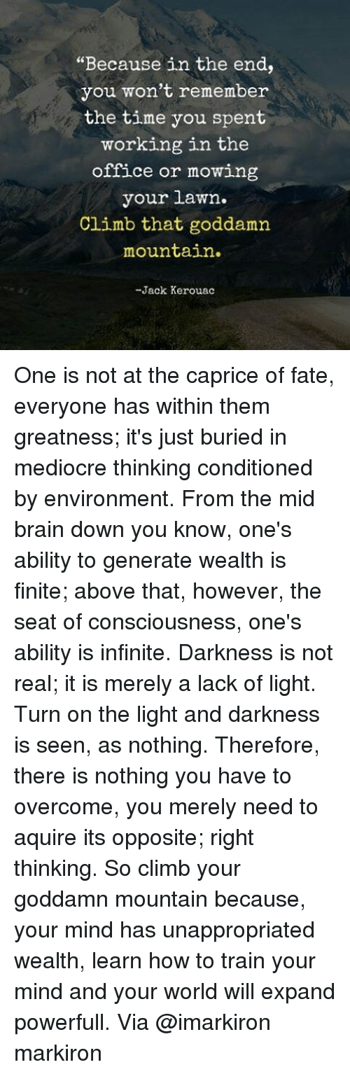 """Memes, 🤖, and Light: """"Because in the end,  you won't remember  the time you spent  working in the  office or mowing  your lawn.  Climb that goddamn  mountain  -Jack Kerouac One is not at the caprice of fate, everyone has within them greatness; it's just buried in mediocre thinking conditioned by environment. From the mid brain down you know, one's ability to generate wealth is finite; above that, however, the seat of consciousness, one's ability is infinite. Darkness is not real; it is merely a lack of light. Turn on the light and darkness is seen, as nothing. Therefore, there is nothing you have to overcome, you merely need to aquire its opposite; right thinking. So climb your goddamn mountain because, your mind has unappropriated wealth, learn how to train your mind and your world will expand powerfull. Via @imarkiron markiron"""