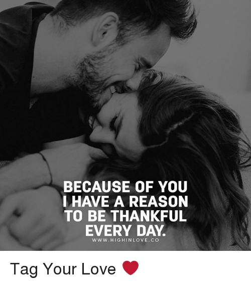 Love, Memes, and Reason: BECAUSE OF YOU  IHAVE A REASON  TO BE THANKFUL  EVERY DAY  www.HIGHINLOVE.CO Tag Your Love ❤️