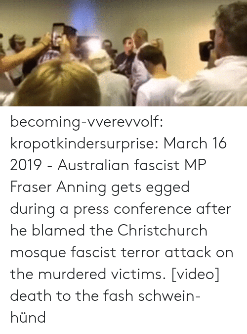 Facebook, Tumblr, and Videos: becoming-vverevvolf: kropotkindersurprise:  March 16 2019 - Australian fascist MP Fraser Anning gets egged during a press conference after he blamed the Christchurch mosque fascist terror attack on the murdered victims. [video]  death to the fash schwein-hünd