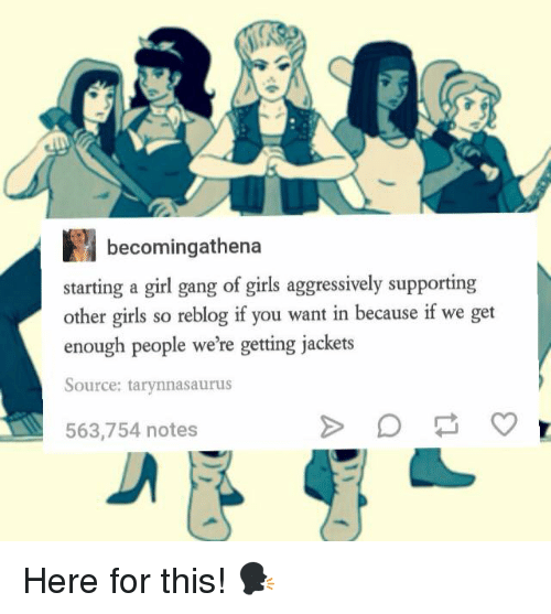 Memes, Gang, and Aggressive: becomingathena  starting a girl gang of girls aggressively supporting  other girls so reblog if you want in because if we get  enough people were getting jackets  Source: tarynnasaurus  563,754 notes Here for this! 🗣