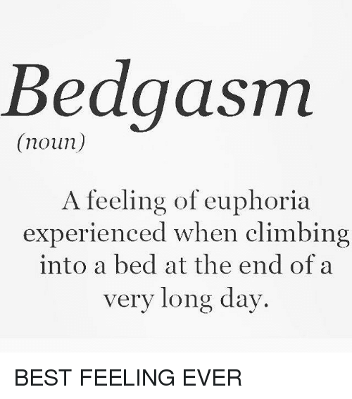 Climbing, Memes, and 🤖: Bedgasm  (noun)  A feeling of euphoria  experienced when climbing  into a bed at the end of a  very long day. BEST FEELING EVER