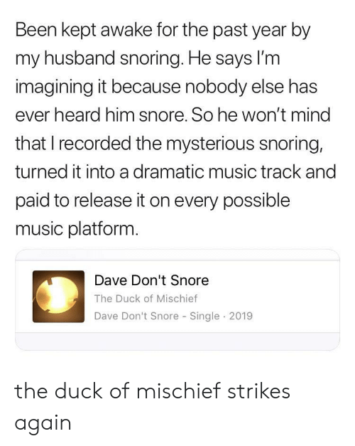 Music, Duck, and Husband: Been kept awake for the past year by  my husband snoring. He says lI'm  imagining it because nobody else has  ever heard him snore. So he won't mind  that I recorded the mysterious snoring,  turned it into a dramatic music track and  paid to release it on every possible  music platform.  Dave Don't Snore  The Duck of Mischief  Dave Don't Snore Single 2019 the duck of mischief strikes again