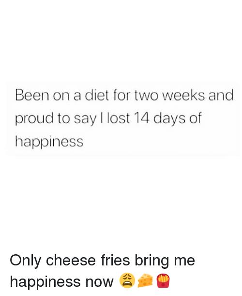 Memes, Lost, and Diet: Been on a diet for two weeks and  proud to say I lost 14 days of  happiness Only cheese fries bring me happiness now 😩🧀🍟