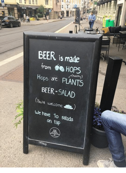 Beer, Dank, and 🤖: BEER is made  from HOPS  Hops are PLANTS  BEER-SALAD  thealthy  Youre welcome  we have 1o salads  on
