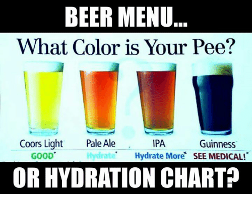 Memes, Charts, and 🤖: BEER MENU  What Color is Your Pee?  Coors Light  Pale Ale  IPA  Guinness  Hydrate  Hydrate More  SEE MEDICAL  GOOD  OR HYDRATION CHART