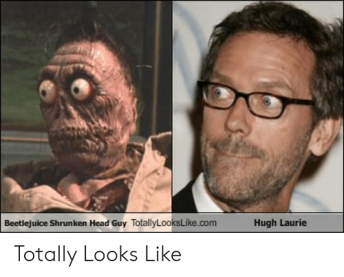 Beetlejuice Shrunken Head Guy Totallylookslikecom Hugh Laurie Totally Looks Like Head Meme On Me Me