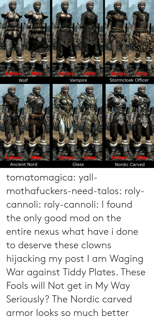 Gif, Tumblr, and Clowns: Before After  Before After  Before After  Stormcloak Officer  Wolf  Vampire   Before After  Glass  Before After  Before After  Ancient Nord  Nordic Carved tomatomagica:  yall-mothafuckers-need-talos:  roly-cannoli:   roly-cannoli:    I found the only good mod on the entire nexus  what have i done to deserve these clowns hijacking my post I am Waging War against Tiddy Plates. These Fools will Not get in My Way    Seriously? The Nordic carved armor looks so much better