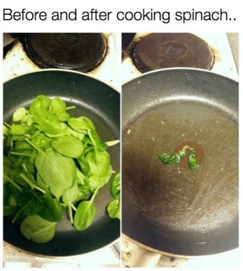 Dank, 🤖, and Spinach: Before and after cooking spinach..