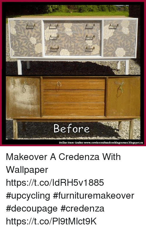 Memes, Blogspot, and Dollar Store: Before Dollar Store Crafter www.cowiescraftandcookingcorner. Makeover A Credenza With Wallpaper ...