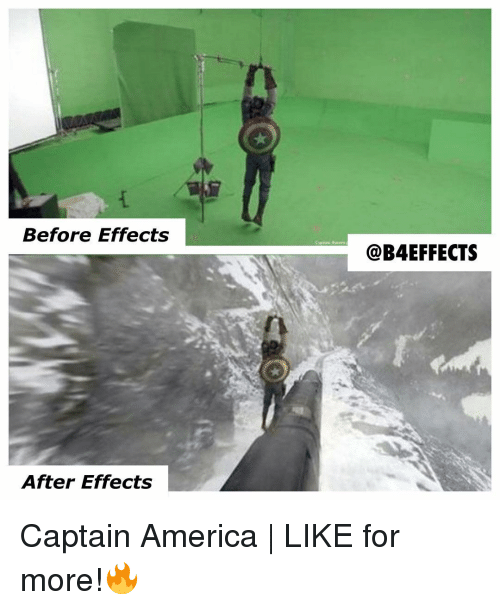 Memes, After Effects, and 🤖: Before Effects  After Effects  @B4 EFFECTS Captain America | LIKE for more!🔥