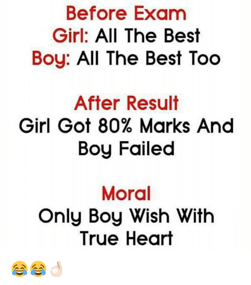 Exambest: Before Exam Girl All The Best Boy All The Best Too After