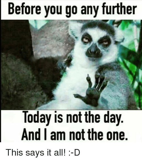Memes, 🤖, and Further: Before you go further  you Today is not the day  And I am not the one. This says it all! :-D