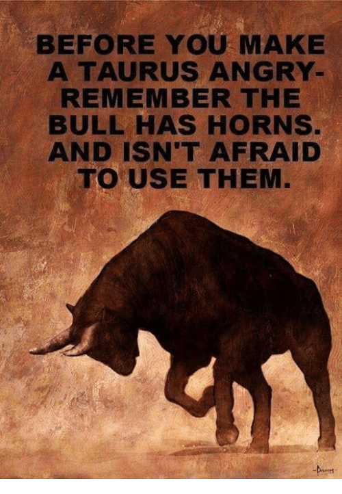 BEFORE YOU MAKE a TAURUS ANGRY- REMEMBER THE BULL HAS HORNS