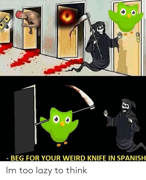 BEG FOR YOUR WEIRD KNIFE IN SPANISH Im Too Lazy to Think | Lazy Meme