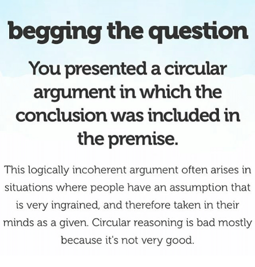 Begging The Question You Presented A Circular Argument In Which The