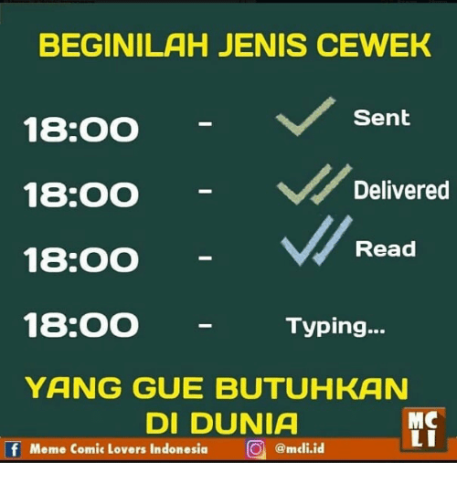 Meme, Indonesia, and Indonesian (Language): BEGINILAH JENIS CEWEK  18:0O  18:00  18:00  18:00  YANG GUE BUTUHKAN  Sent  Delivered  Read  Typing...  DI DUNIA  MC  Meme Comic Lovers Indonesia  。) @mcli.id