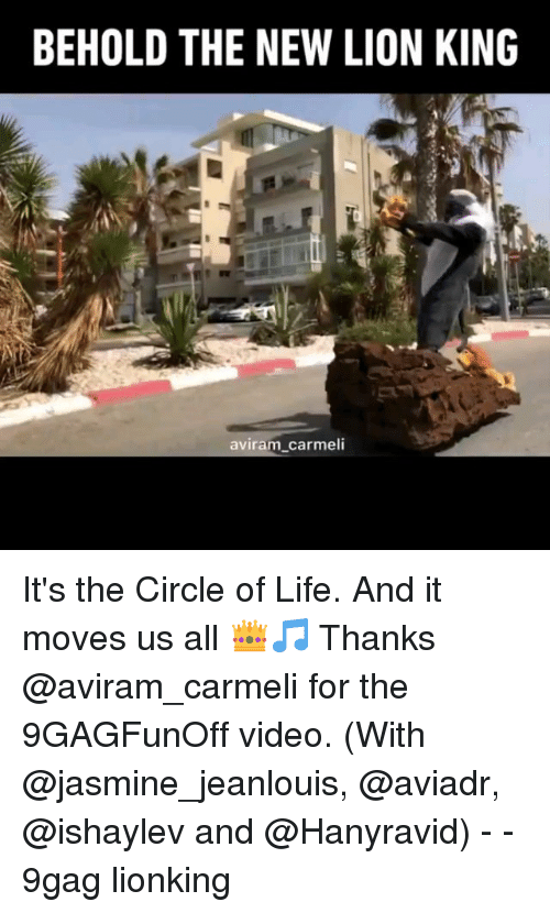 9gag, Life, and Memes: BEHOLD THE NEW LION KING  aviram carmeli It's the Circle of Life. And it moves us all 👑🎵 Thanks @aviram_carmeli for the 9GAGFunOff video. (With @jasmine_jeanlouis, @aviadr, @ishaylev and @Hanyravid) - - 9gag lionking