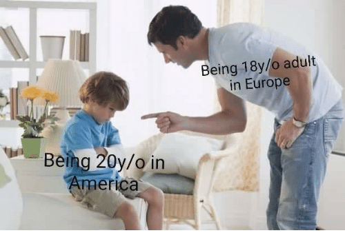 America, Europe, and In America: Being 18y/o aduit  in Europe  Being 20y/o in  America