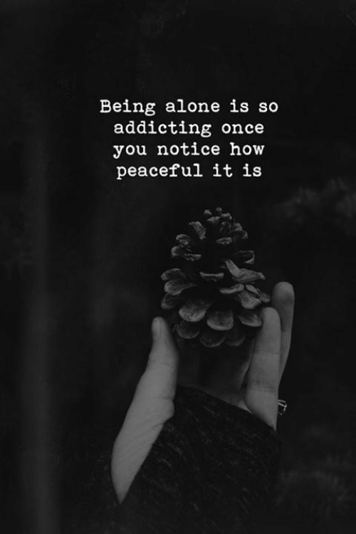Being Alone, How, and Once: Being alone is so  addicting once  you notice how  peaceful it is