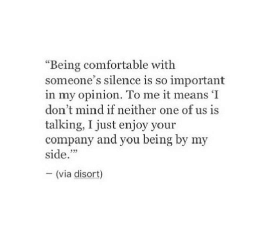 """Comfortable, Mind, and Silence: """"Being comfortable with  someone's silence is so important  in my opinion. To me it means 'I  don't mind if neither one of us is  talking, I just enjoy your  company and you being by my  side.""""  35  (via disort)"""