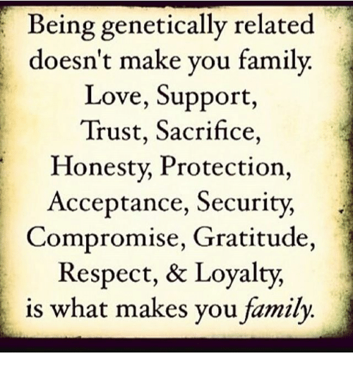 Family, Love, and Memes: Being genetically related  doesn't make you family.  Love, Support,  Trust, Sacrifice,  Honesty, Protection,  Acceptance, Security,  Compromise, Gratitude,  Respect, & Loyalty,  is what makes you family