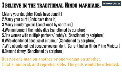 BELIEVE INTHE TRADITIONAL HINDU MARRIAGE THE THINKING
