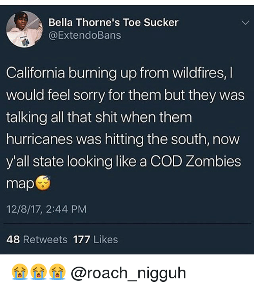 Shit, Sorry, and Zombies: Bella Thorne's Toe Sucker  @ExtendoBans  California burning up from wildfires,I  would feel sorry for them but they was  talking all that shit when them  hurricanes was hitting the south, now  y'all state looking like a COD Zombies  map  12/8/17, 2:44 PM  48 Retweets 177 Likes 😭😭😭 @roach_nigguh