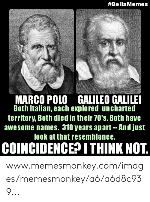 Images, Polo, and Awesome:  #BellaMemes  MARCO POLO GALILEO GALILEI  Both Italian, each explored uncharted  territory, Both died in their 70's. Both have  awesome names. 310 years apart--And just  look at that resemblance.  COINCIDENCE? ITHINK NOT. www.memesmonkey.com/images/memesmonkey/a6/a6d8c939...