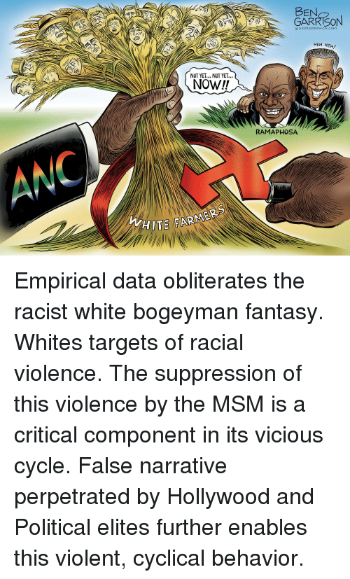 White, Racist, and Vicious: BEN  GARKISON  EAV  OGRRRGRAPHICS COM  HEH HEH/  NOT YET... NOT YET...  RAMAPHOSA  HITE FARME Empirical data obliterates the racist white bogeyman fantasy. Whites targets of racial violence. The suppression of this violence by the MSM is a critical component in its vicious cycle. False narrative perpetrated by Hollywood and Political elites further enables this violent, cyclical behavior.