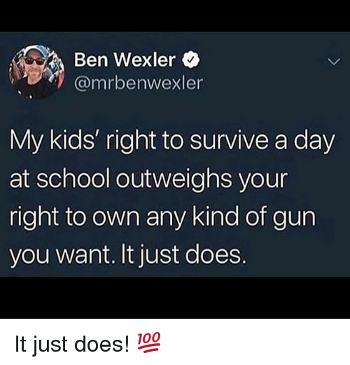 Memes, School, and Kids: Ben Wexler  @mrbenwexler  My kids' right to survive a day  at school outweighs your  right to own any kind of gun  you want. It just does. It just does! 💯