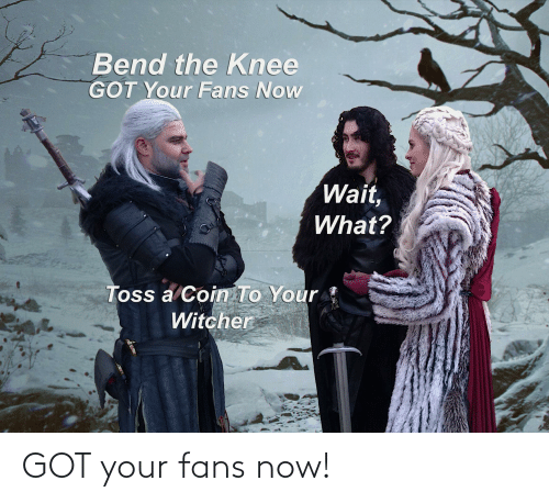 Bend The Knee Got Your Fans Now Wait What Toss A Coin To Your