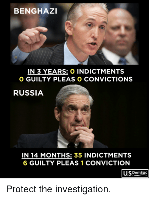 Russia, Months, and Conviction: BENGHAZI  IN 3 YEARS: O INDICTMENTS  O GUILTY PLEAS O CONVICTIONS  RUSSIA  IN 14 MONTHS: 35 INDICTMENTS  6 GUILTY PLEAS 1 CONVICTION  US DemSoc Protect the investigation.