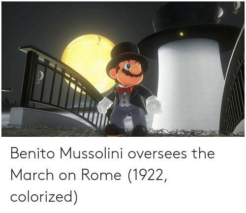 Rome, Mussolini, and March: Benito Mussolini oversees the March on Rome (1922, colorized)