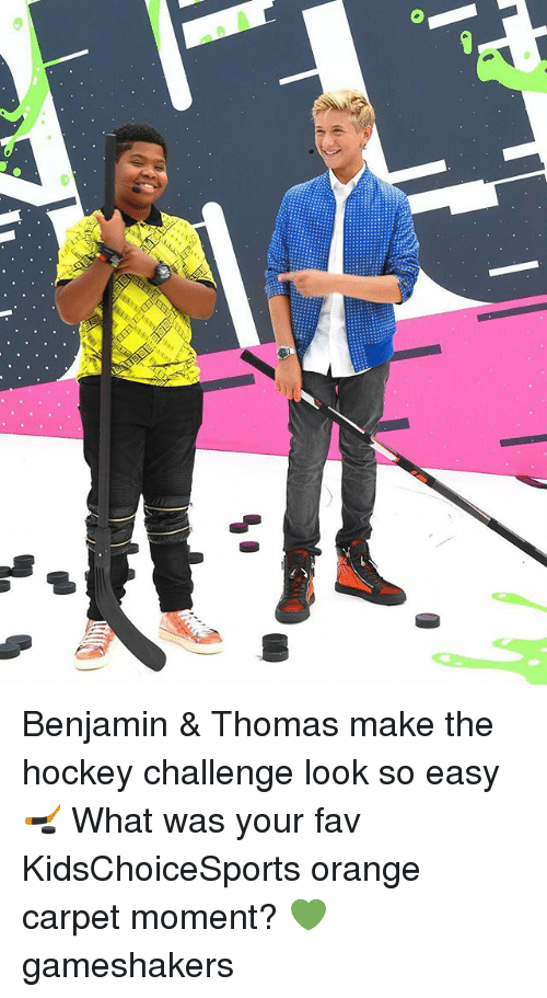 Hockey, Memes, and Orange: Benjamin & Thomas make the hockey challenge look so easy 🏒 What was your fav KidsChoiceSports orange carpet moment? 💚 gameshakers