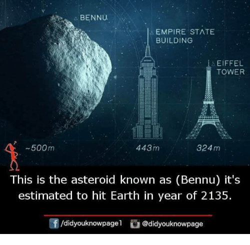 Empire, Memes, and Earth: BENNU  EMPIRE ST^TE  BUILDING  EIFFEL  TOWER  -500m  443m  324 m  This is the asteroid known as (Bennu) it's  estimated to hit Earth in year of 2135.  f/didyouknowpagel @didyouknowpage