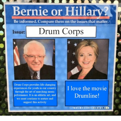 bernie or be informed compare them on the issues that 1792965 ✅ 25 best memes about drum corps drum corps memes