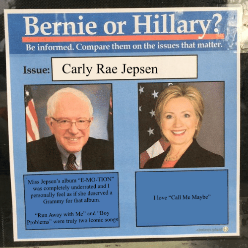 """Call Me Maybe, Carly Rae Jepsen, and Love: Bernie or Hillary?  Be informed. Compare them on the issues that matter  Issue: Carly Rae Jepsen  Miss Jepsen's album """"E-MO-TION""""  was completely underrated and I  personally feel as if she deserved a  Grammy for that album.  I love """"Call Me Maybe""""  """"Run Away with Me"""" and """"Boy  Problems"""" were truly two iconic songs"""