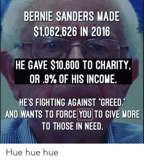 Bernie Sanders, Greed, and Nore: BERNIE SANDERS MADE  $1062,626 IN 2016  HE GAVE $10,600 TO CHARITY.  OR .9% OF HIS INCOME  HE'S FIGHTING AGAINST 'GREED  AND WANTS TO FORCE YOU TO GIVE NORE  TO THOSE IN NEED Hue hue hue
