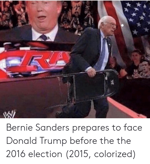 Bernie Sanders, Donald Trump, and Trump: Bernie Sanders prepares to face Donald Trump before the the 2016 election (2015, colorized)
